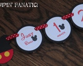 Mickey Mouse Inspired. Just Born/0-12 mos Picture Hanging Banner. Red and Yelllow. First Birthday Banner. Mickey Clubhouse Photo Banner.