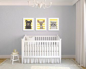 Woodland Animals Nursery Wall Art - Bear Deer Raccoon Art Prints - Baby Children Art - Yellow