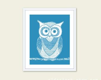 Owl Art Print - Owl Wall Art - Nursery Decor - Blue Owl Art - Woodland Bird Art - Aldari Art