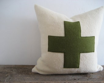 Ivory Wool Blanket Pillow Cover Army Green Swiss Cross Zipper