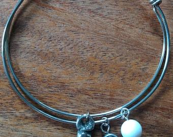 Snow Quartz, Rustic Cross and Celtic Knot Bead Silver Plate Adjustable Bangle