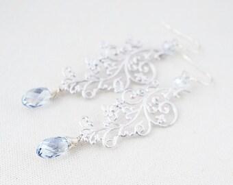 CLEARANCE - Earrings, Silver Earrings, Crystal Earrings, Blue Earrings, Filigree Earrings, Swarovski Crystal, Blue Shade, No. ES046