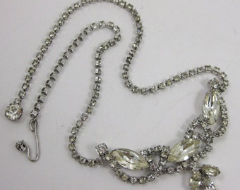 Vintage WEISS Silver Sparkling Jeweled Glam Runway Statement Designer Necklace