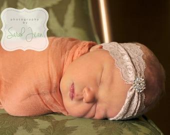 Newborn Photography Headband, Baby Turban Headband, Lace Baby Headband, Newborn Lace Headband, Newborn Photo Prop, Toddler Turban Headband