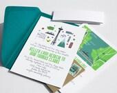 State Themed Invite Card : Custom Illustrated Wedding Invitations