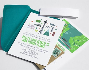Location, Location! Invite Card : Custom Illustrated Wedding Invitations, Design Fee