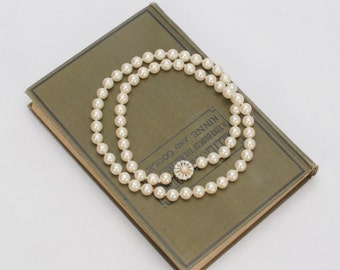 Vintage Pearls with Rhinestone Clasp Hearts