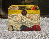 Handmade  Zipper Pouch, Cotton Fabric, Antique Lace Trims and Button, Beads, Lined, Beaded Zipper Pull