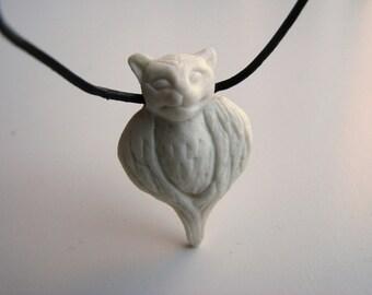 Catowl porcelain animal pendant