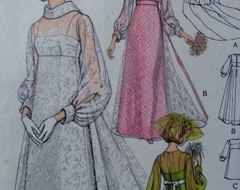 60s Empire Waist Wedding Dress Pattern Vogue 2058 Size 10 UNCUT