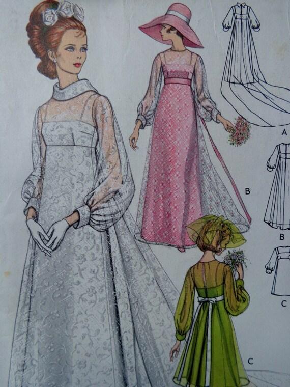 60s empire waist wedding dress pattern vogue 2058 size 10 for Empire waist wedding dress patterns