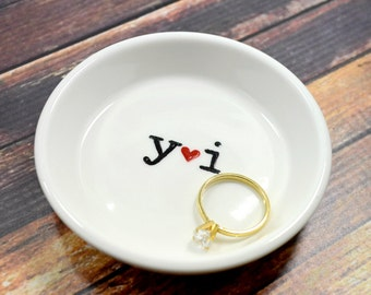 Typewriter Font Hand Painted Ring Holder