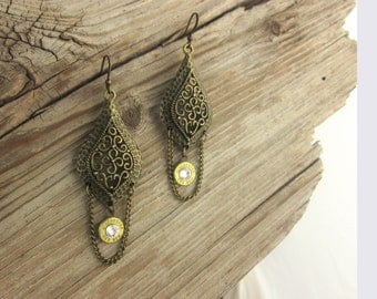 Bullet Earrings / Antique Bronze Chain & Bullet Earrings WIN-223-B-ABCBE / Chain Earrings / Bronze Earrings / Antique Earrings / Custom