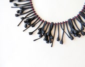 nO.147 'a meadow around your neck' in black. made to order. minimalistic primitive necklace