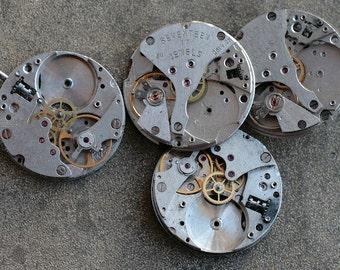 Vintage wrist watch movements -- set of 4 -- pairs