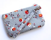 Zippered Wristlet - Flea Market Fancy - Grey Posie - Grey and Red Flowered Purse - Small Clutch with Detachable Strap - Ready To Ship