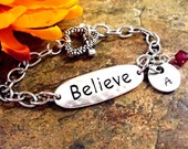 HUGE SALE NOW Believe Bracelet, Personalized Jewelry, Hand Stamped Jewelry, Stainless Steel Toggle, Believe Jewelry