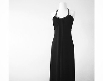 Black Maxi Dress 70s style with Sequins sz small