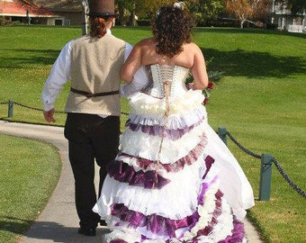 Steampunk wedding dress ivory purple with Train / Bustle custom MADE TO ORDER/ measure