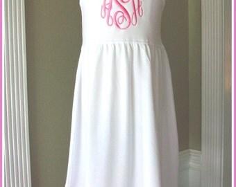 Girls Monogrammed white dress, Sleeveless ruffle knit dress, Flower Girl, Beach portrait