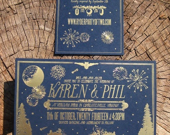Golden Moonlight Nighttime Chic Gold Foil Wedding Invitation Suite