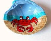 Hand painted red crab seashell, beach decor, coastal crafts seashell art - beachseacrafts