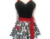 Pin up Sweetheart apron, Flirty Aprons, Black and White Damask apron,  sexy aprons, Red Ties, bridal shower gift, full hostess women's apron