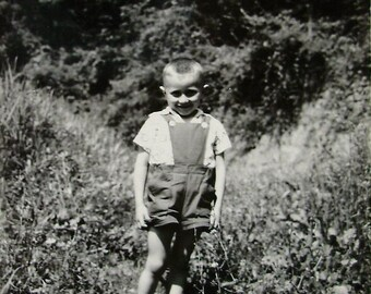 Vintage French Summer Photo - Young Boy in the Countryside