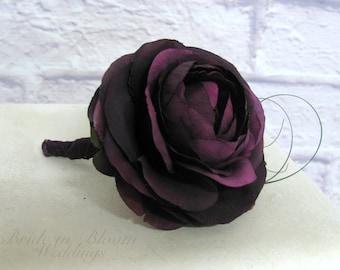 Mens wedding boutonnieres, Plum purple Ranunculus Boutonniere, Groomsmen Boutonniere