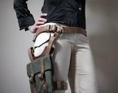 Unisex Thigh Holster Bag - Natural Tan/Green Canvas - steampunk - festival - burning man, Please read Description for size