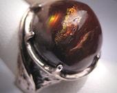 Vintage Fire Opal Ring 12ct Antique Retro Modernist 50s