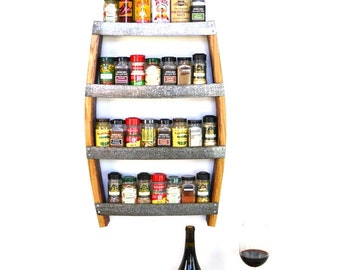 Rosemary - Hanging Wine Barrel Spice Rack // Wall Mounted Spice Shelf // Wine Barrel Ring // Kitchen Organization