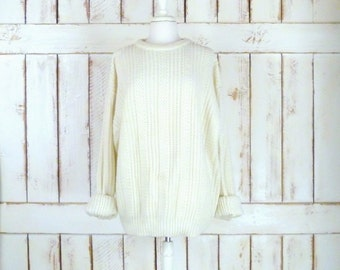 Vintage 80s ivory chunky knit pullover sweater/off white woven boyfriend sweater/cabin sweater