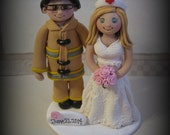 Wedding Cake Topper, Custom Cake Topper, Firefighter, Nurse, Bride and Fireman, Polymer Clay, Personalized, Wedding Keepsake