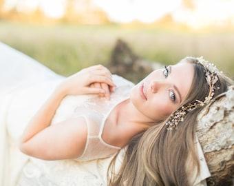 Wedding Hair Vine, Bridal hair vine, gold vine headpiece, pearl headpiece, twig and vine bridal headpiece, wedding hair accessory
