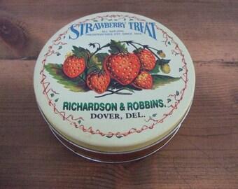 Vintage Strawberry Treat Tin Richardson & Robbins