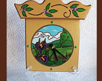 Handmade Scenic Wall Table Clock with bonus stand