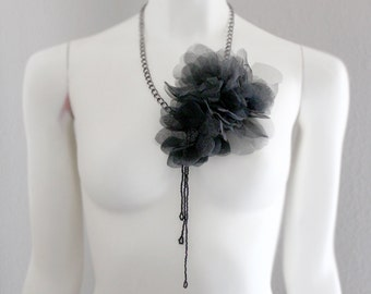 Black Flower Pins Necklace with a Bold Gunmetal Chain