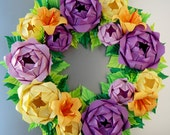 Lavender, Purple and Baby Yellow Rose Wreath,  Mother's Day Wreath, Easter Wreath