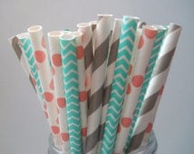 Sweet Coral - Stripe Paper Straws - Paper Party Straws - QTY 25 - Coral - Gray - Aqua - Princess Party - Shabby Chic