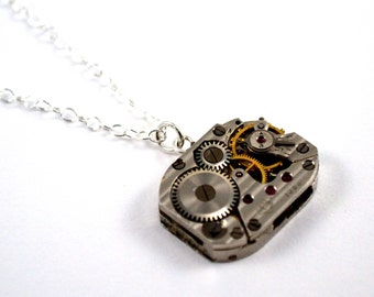 Steampunk Watch Necklace, Watch Movement Necklace, Sterling Silver