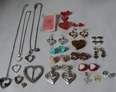 Valentine jewelry, lot 37 jewelry pieces, heart necklace, heart charms,vintage rhinestone hearts,   mixed media supply