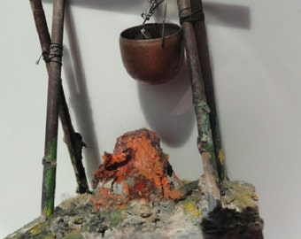 Vintage Paper mache camp fire, camp fire with copper pot, train set accessory, hand made camp fire