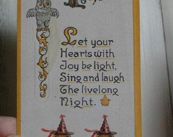 Halloween postcard, vintage jack o lantern, vintage Halloween, vintage ephemera, Owl postcard, Halloween Owls