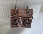 Copper Earrings Rectangle Jewelry Casual Metal Earrings