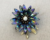 Irridescent Enamel Flower, Black Japaned Back, Brooch, Pin, Shades of Indigo Blue