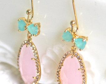 Pink Rhinestone Teardrop Gold Aqua Bow Drop Dangle Earrings - Wedding, Bridal, Bridesmaid, Statement Earrings