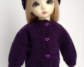 Purple Hat and Sweater Set for YoSD 1/6 BJD - Hand Knit ready to ship