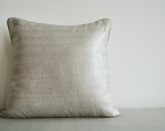 Silver Foil Metallic Pillow Cover , Decorative Pillow , Throw Pillow , Cushion Cover