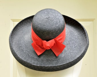 Black Straw Hat with Red Grosgrain Ribbon // 1980s Sun Hat